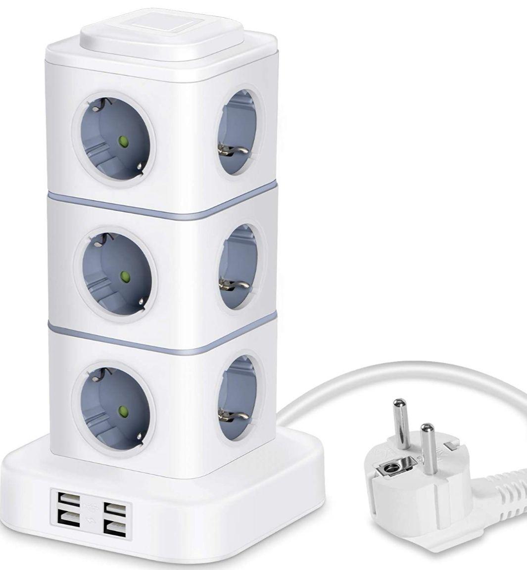 Regleta Vertical 12 Tomas de Corrientes + 4 Tomas USB Rápida, con luz nocturna regulable