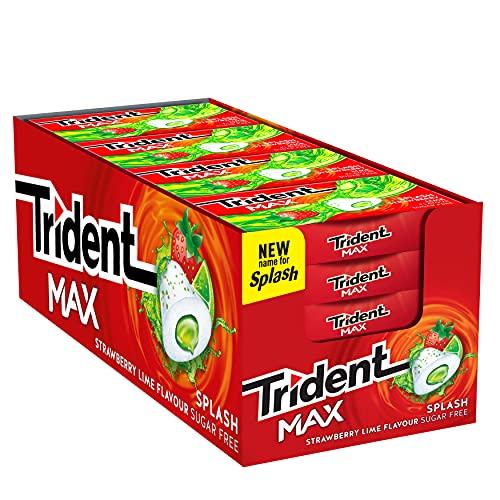 Trident Max Splash, sabor a Fresa y Lima. Paquete de 16 envases de 22g.