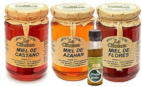 La Cantara - Miel Pura de Abeja - Pack 3x500 gr - Castaño, Azahar y Flores – 100% Natural - Origen España