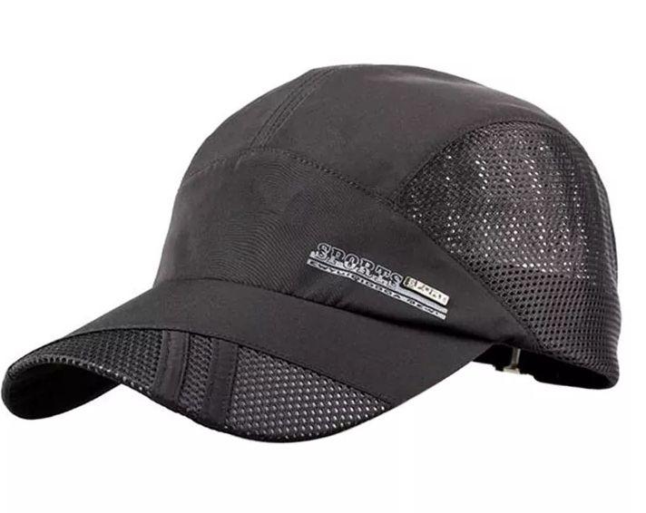 Gorra de béisbol de malla transpirable para hombre, gorros de secado rápido, color azul y gris, Verano