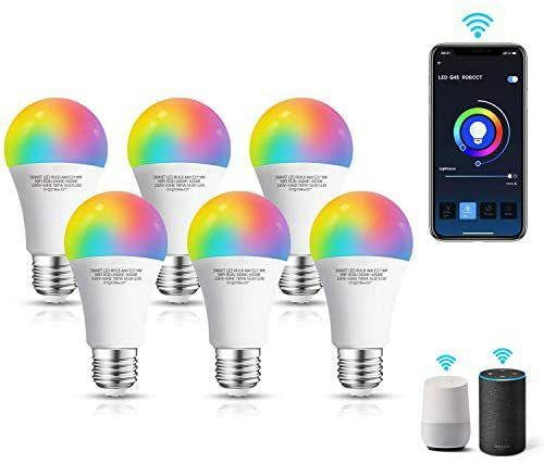Pack de 6 bombillas LED inteligente WiFi A60, 9W, E27, compatibles con Alexa y Google Home