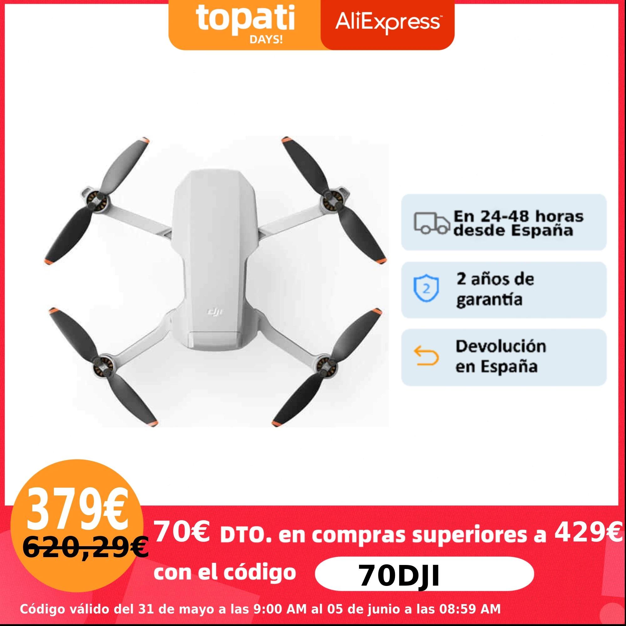 Drone DJI Mini 2|DJI Mini 2 Pack Vuela Más, 4K, ultraligero, transmisión vídeo 10 km, resistencia viento nivel 5, QuickShoots.