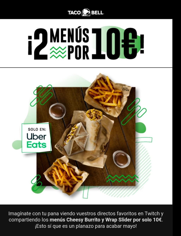 2 menus de taco bell por 10 euros ( Menu Cheesy y Wrap Slider ) pidiendo en Uber Eats