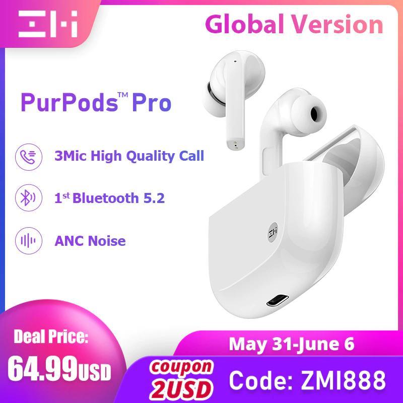 Auriculares inalámbricos ZMI PurPods Pro con Bluetooth 5,2 ANC, 3Mic