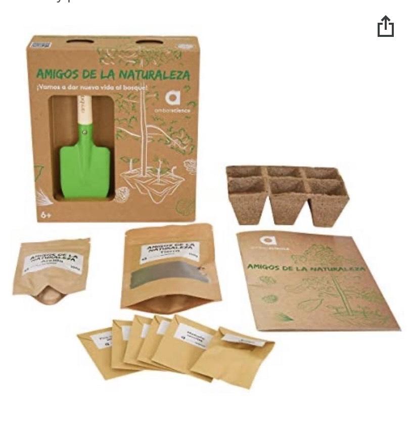 Amigos de la Naturaleza - Kit de cultivo educativo com semilleros de germinación biodegradables