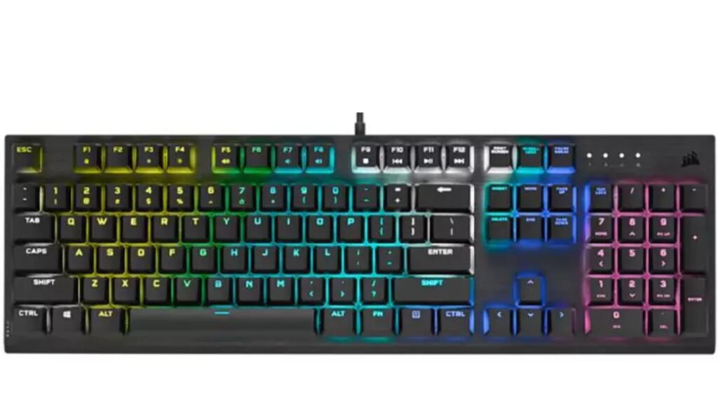 Teclado mecánico Corsair K60 RGB Pro, USB, Iluminacion RGB Speed, Teclas PBT, Multicolor
