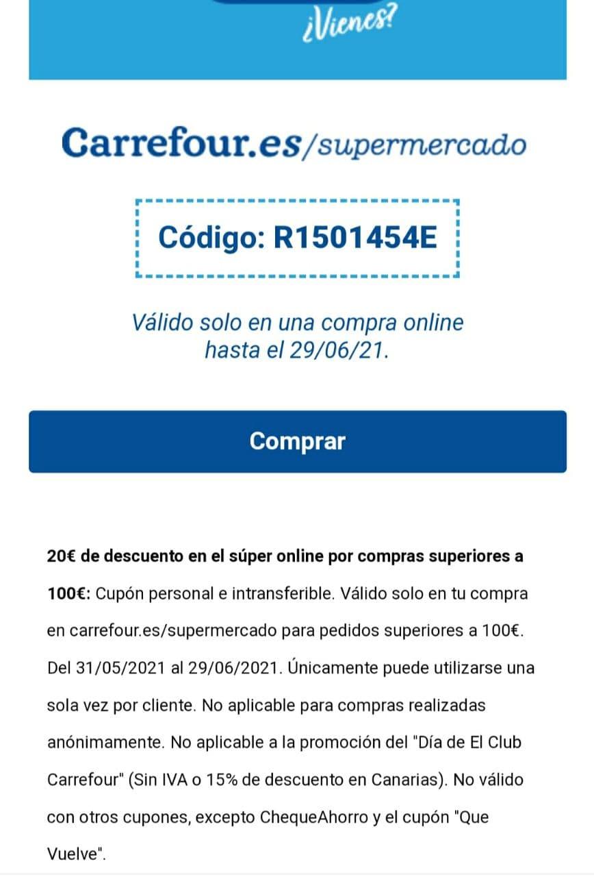 20 € de descuento en Carrefour supermercado para una compra de 100 €.