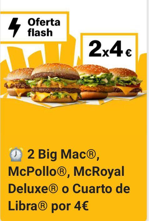 2 Big Mac/2 McPollo/2 McRoyal ó 2 Cuartos de Libra por 4€