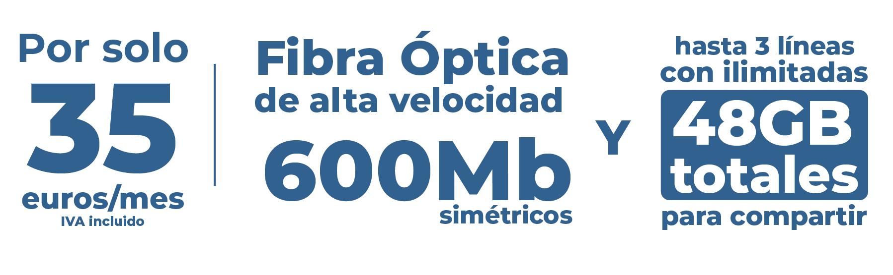 Fibra 600 + 3 Líneas + 48 GB a repartir + Línea Fija por 35 euros. Instalación gratuita. ¿Se puede pedir más? [Zona C.Valenciana]