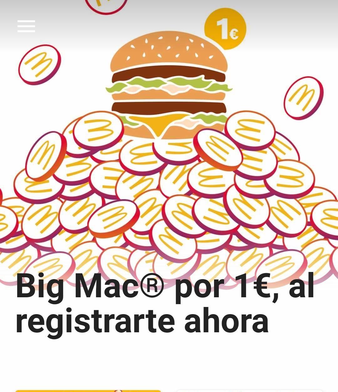 Big Mac por 1€ al registrarte en la app