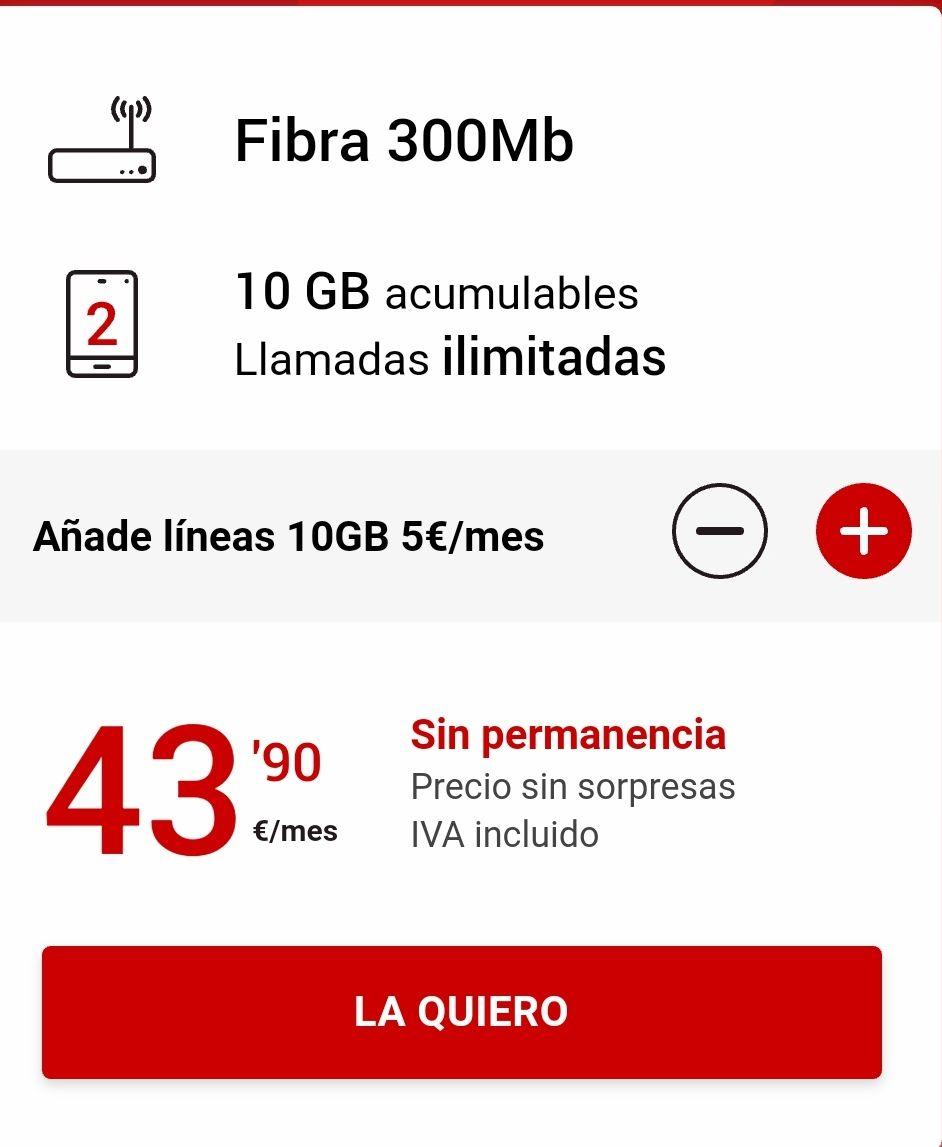 Fibra 300megas, llamadas ilimitadas y 10gb a compartir en 2 lineas sin permanencia ni gastos de instalación