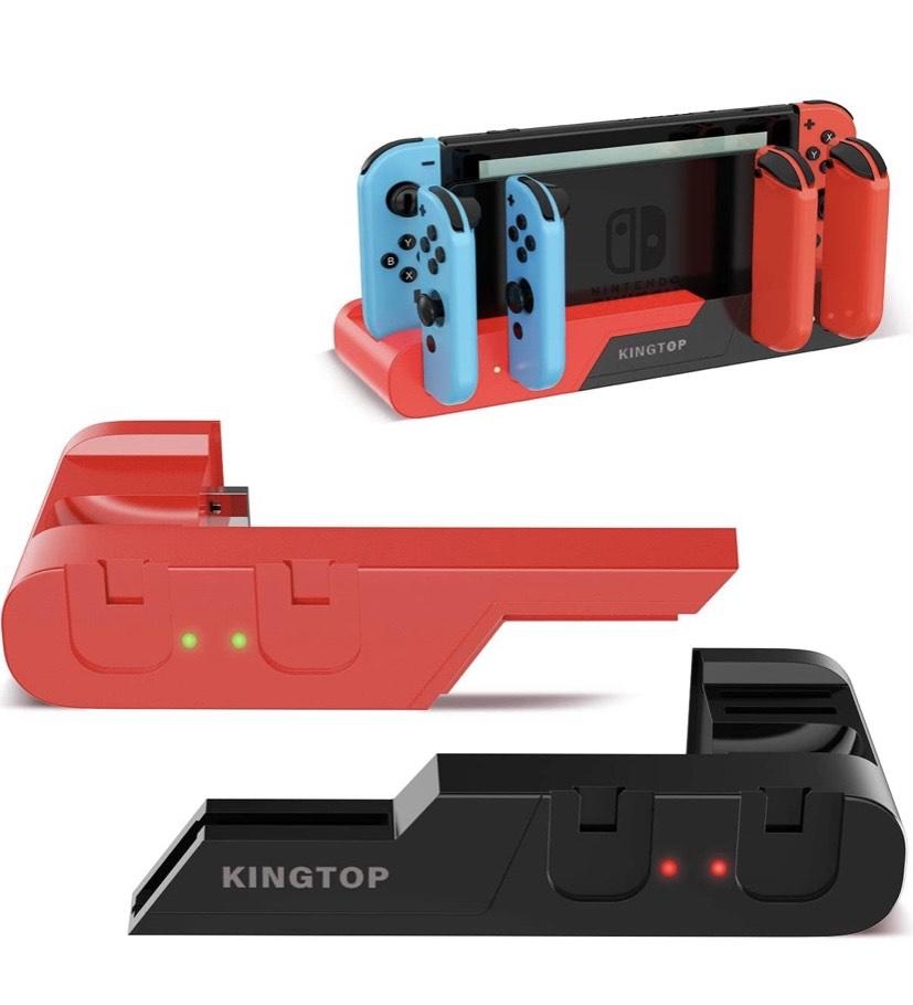 Estación de carga para 6Joy-Con desmontable para Nintendo Switch con indicador de carga LED y 2 ranuras para tarjetas de juego