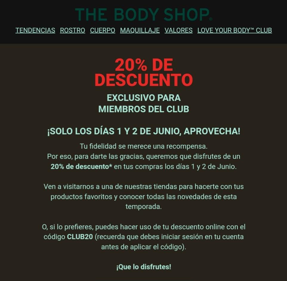 20% de descuento online y en tienda SOLO 1 y 2 de junio en Body Shop