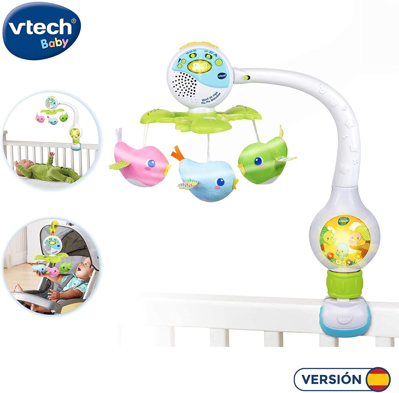 VTech Móvil de viaje Pío Pío melodías, proyector de bebe para cuna o para fijar en silla de paseo y portabebés, multicolor