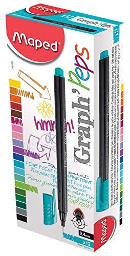 MAPED - Caja de 12 Unidades bolígrafos de tinta Marshmallow [Disponible en 3 Colores]