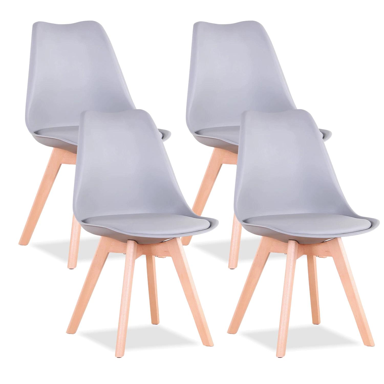Juego de sillas de comedor modernas con asiento acolchado, color gris, 4 unidades