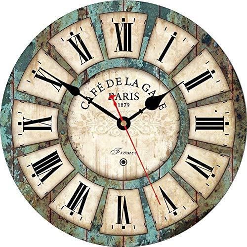 Reloj de Pared rústica Romana Redonda de Madera Decorativo