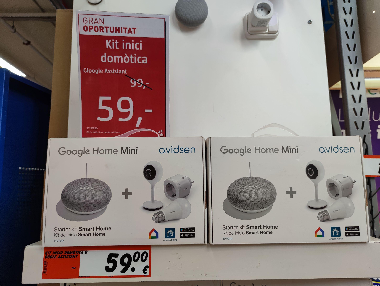 Google Home Mini (1ª gen)+ Bombilla RGB Wifi+ enchufe Wifi+ cámara Wifi FHD