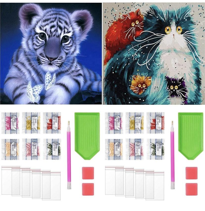 Paquete de 2 Pintura de Diamantes Animales 30x40cm