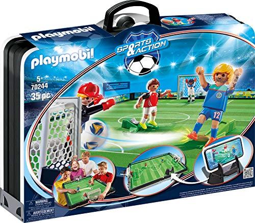 PLAYMOBIL Sports and Action Campo de Fútbol Maletín, con Soporte