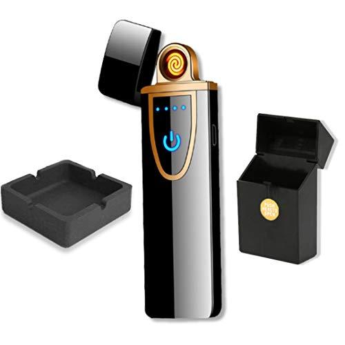 Mechero Electrónico Recargable USB táctil - Cenicero de Silicona + pitillera con botón Negra
