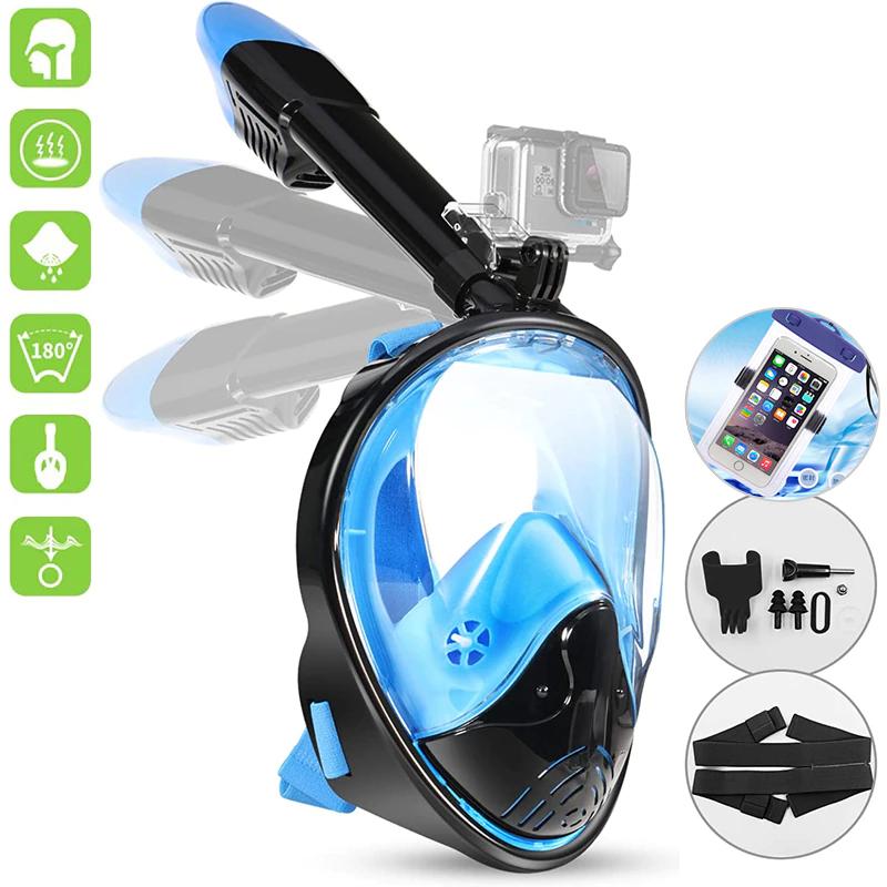 Máscara de buceo Scuba para adultos y jóvenes con montaje para cámara