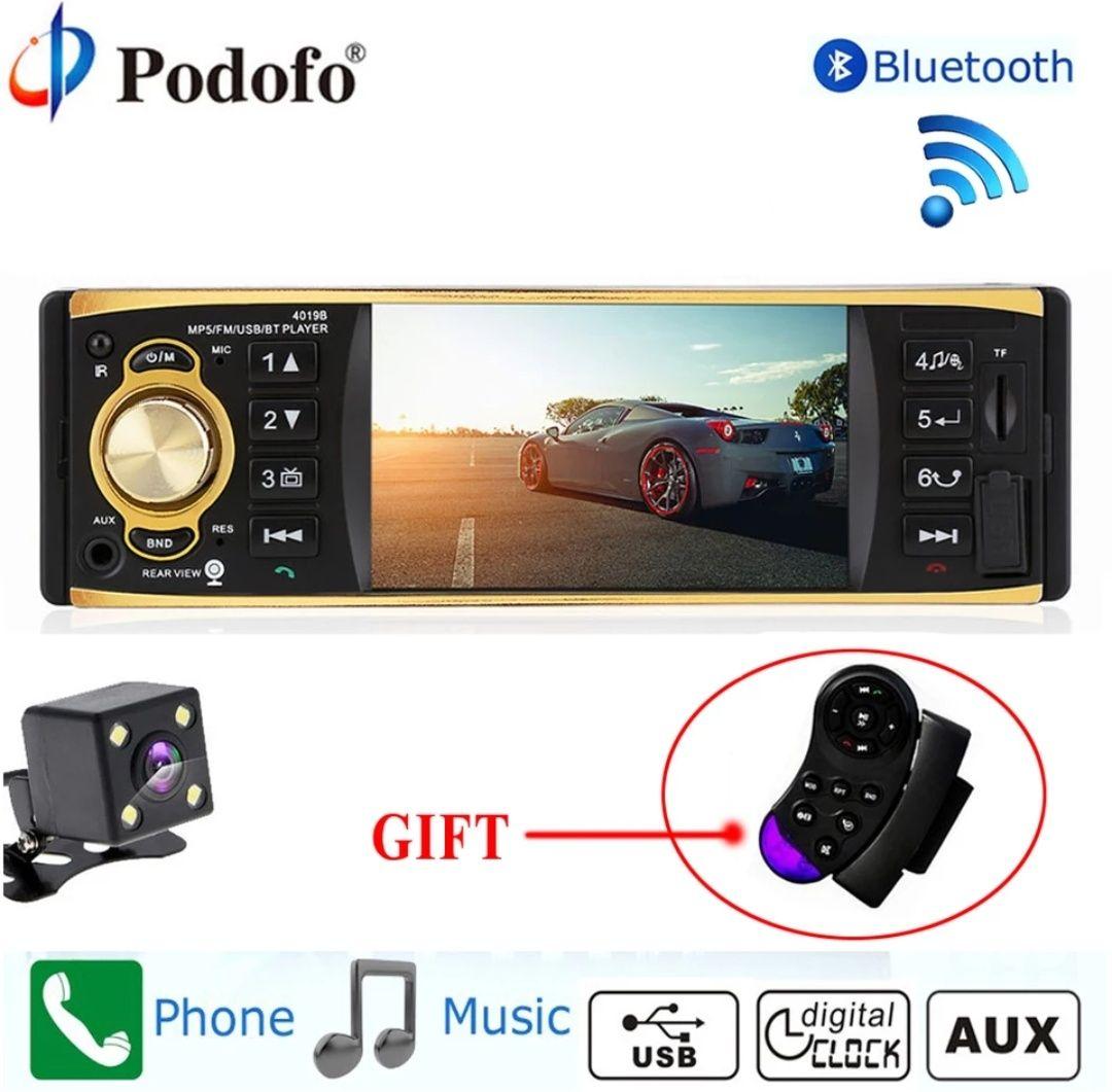 Radio DIN 1 Podofo 4019B con pantalla + Mando gratuito