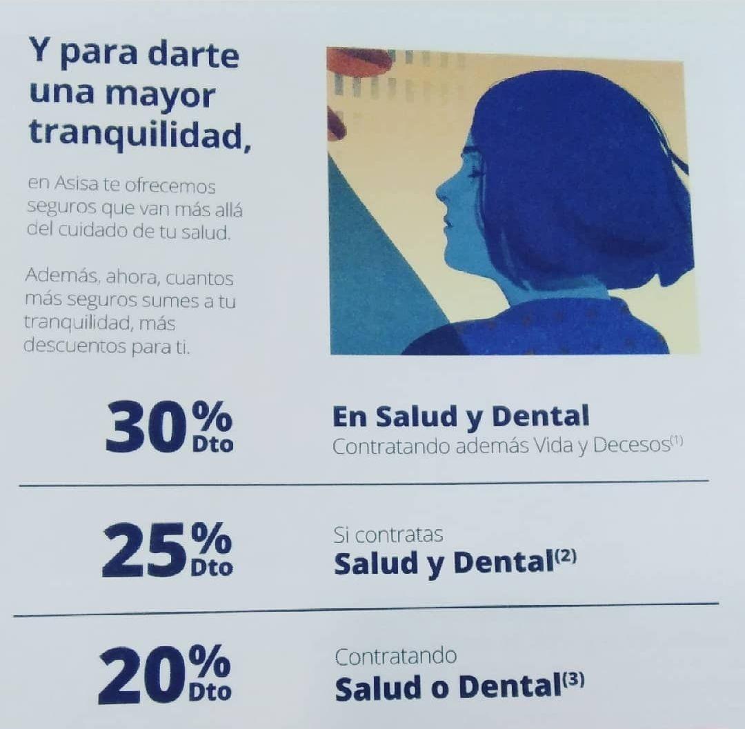Seguro salud dental o decesos Asisa con descuento