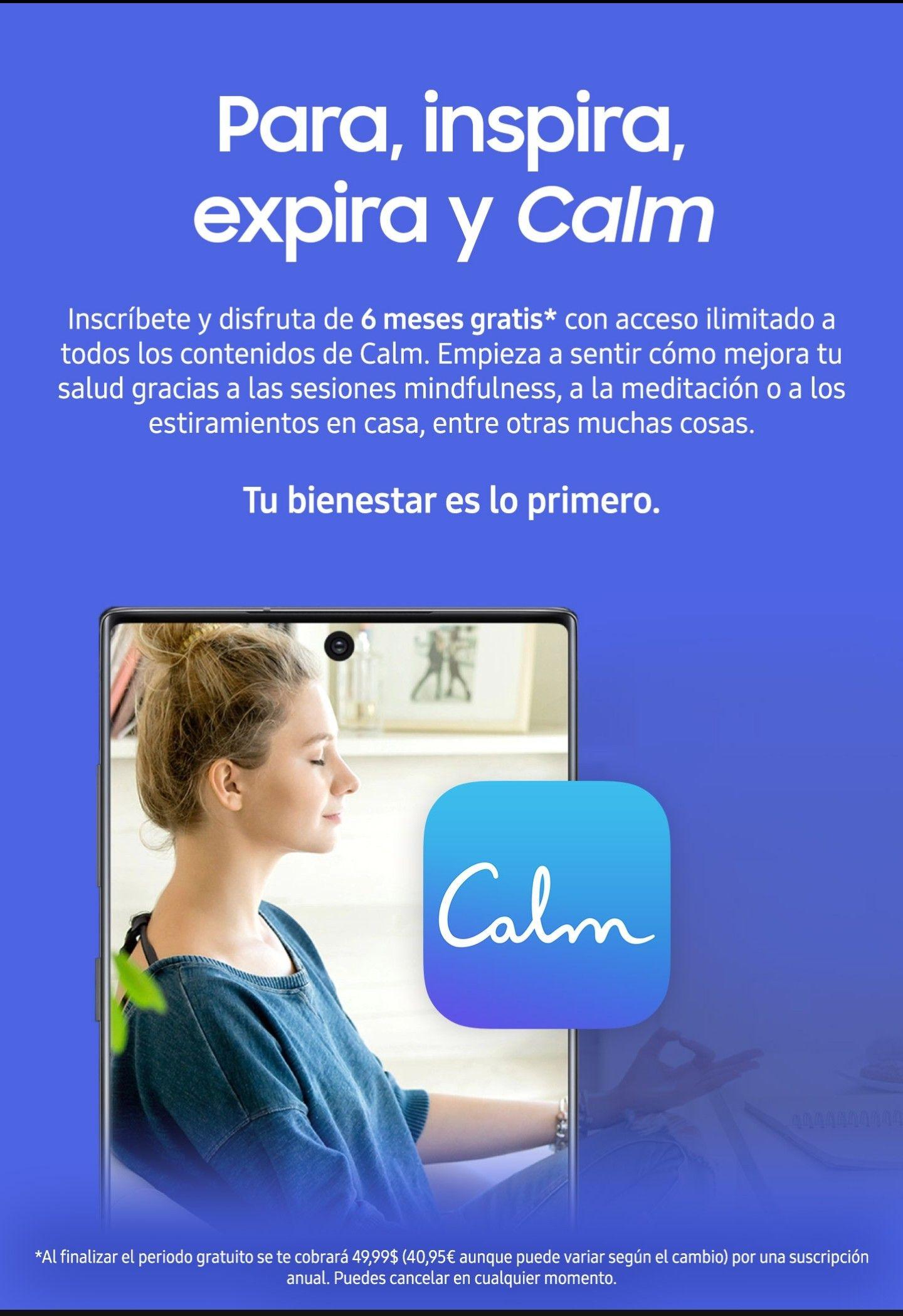 6 meses de Calm con Samsung Health (dispositivos Samsung)