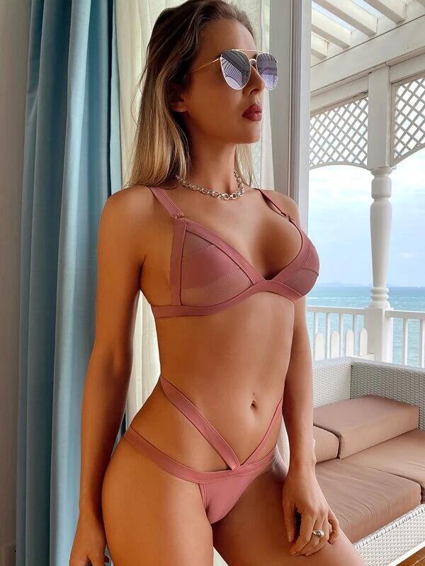 Bañador bikini triángulo con abertura