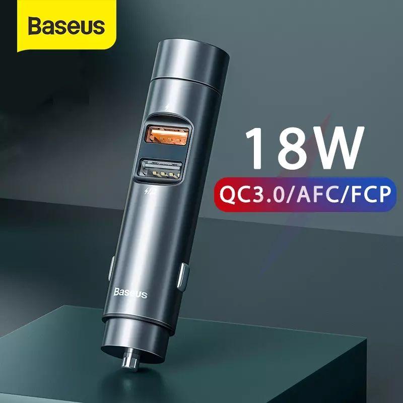 Baseus Kit de manos libres para coche, transmisor FM con BT 5.0 y QC 18W