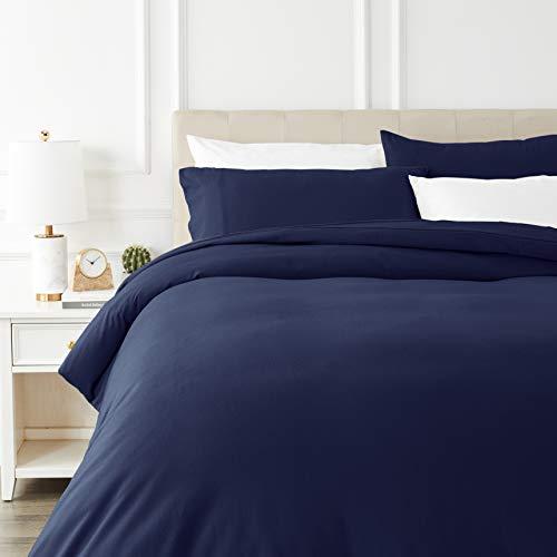 Juego de cama de franela con funda nórdica - 200 x 200 cm/50 x 80 cm x 2, Azul marino. Por 8,68€