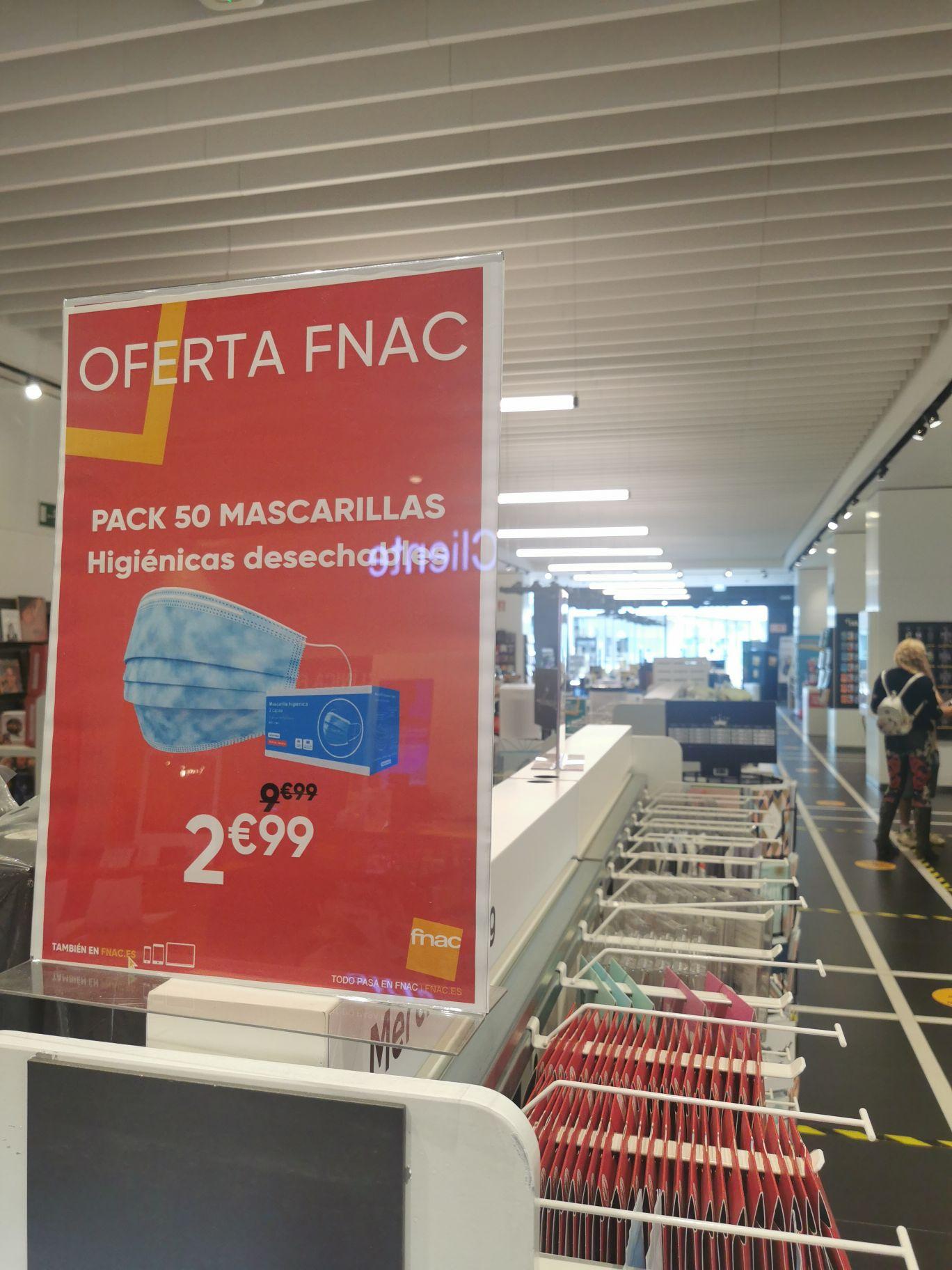 50 mascarillas fnac 2.99 (Zaragoza)