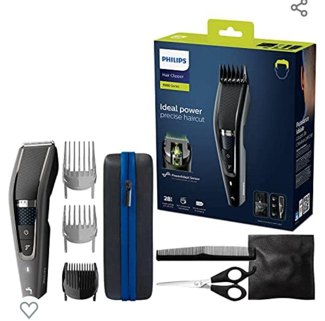 Philips HC7650/15 - Cortapelos con cuchillas de titanio + incluye 3 peines-guía, tijeras y funda de viaje