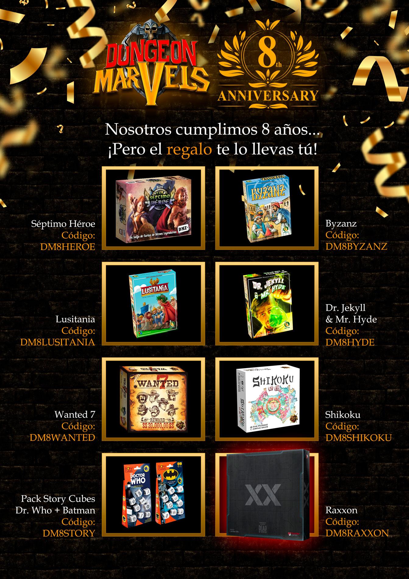 Juego de regalo por 8 aniversario de Dungeon Marvels gastando 10€