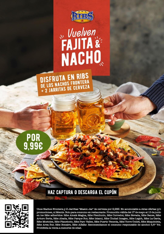 Oferta en Ribs Combo de Nachos Frontera + 2 pintas de cerveza por 9.99 euros