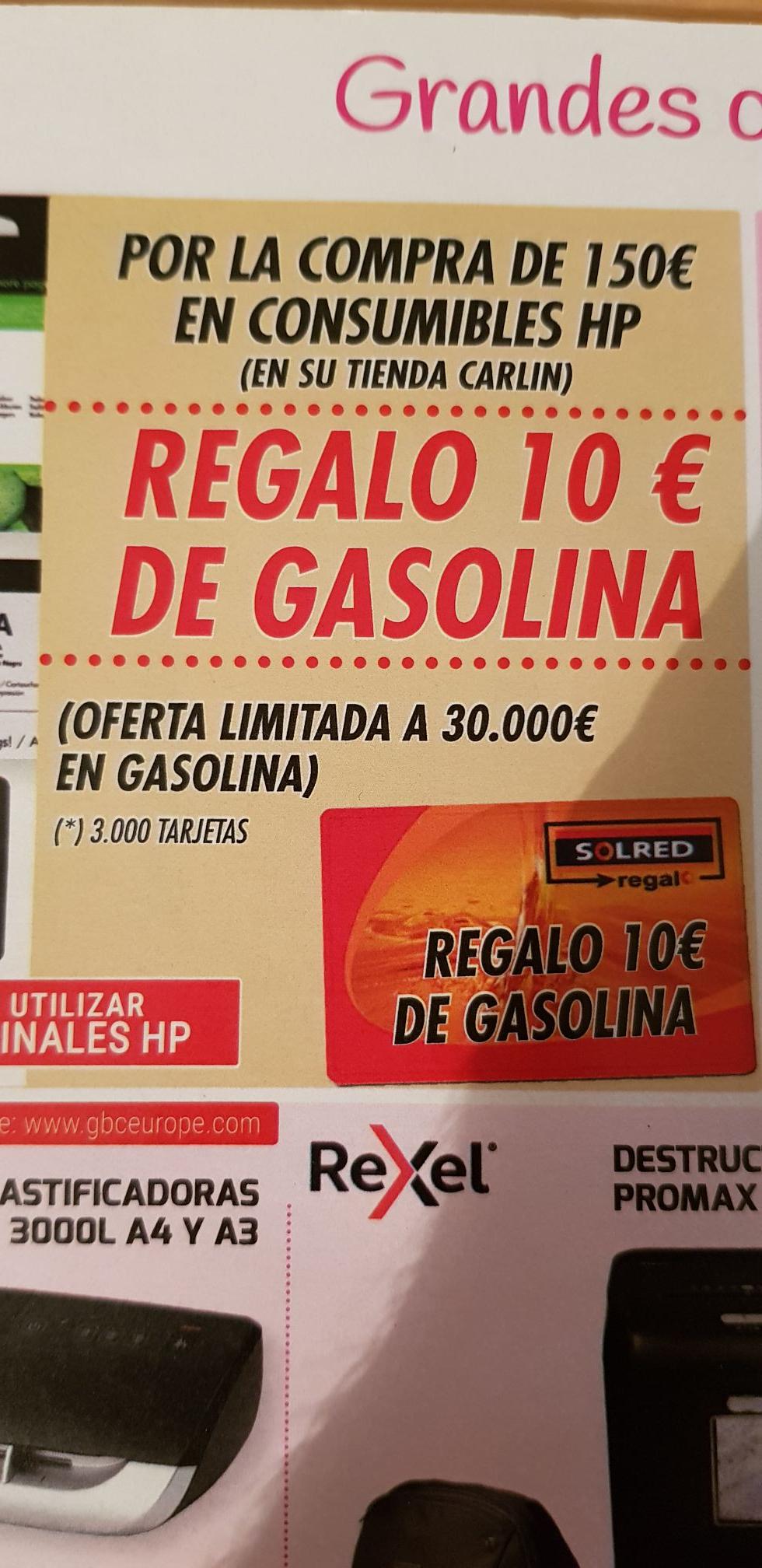 Gasolina Gratis por compra en Consumibles HP