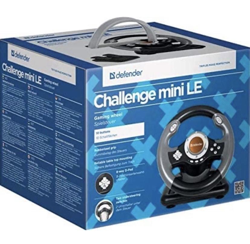 Mini volante con pedales Challenge Mini LE USB, 10 Botones