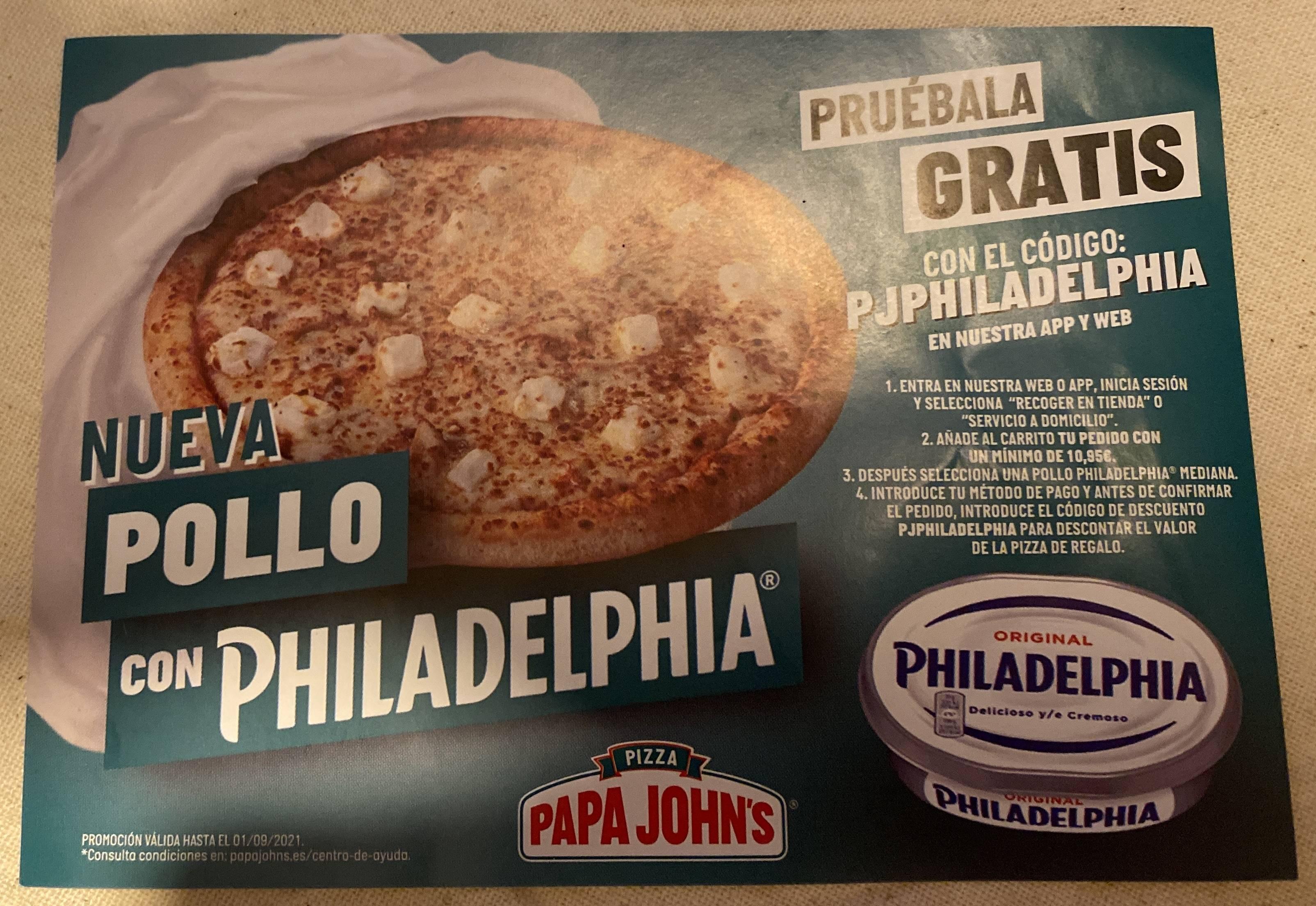Pizza gratis en Papa John's con pedido mínimo de 10,95€