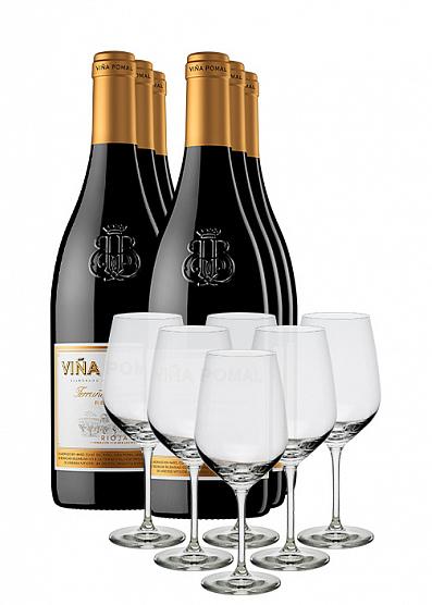 Pack 6 Rioja Reserva Viña Pomal + 6 copas regalo + Envío gratis