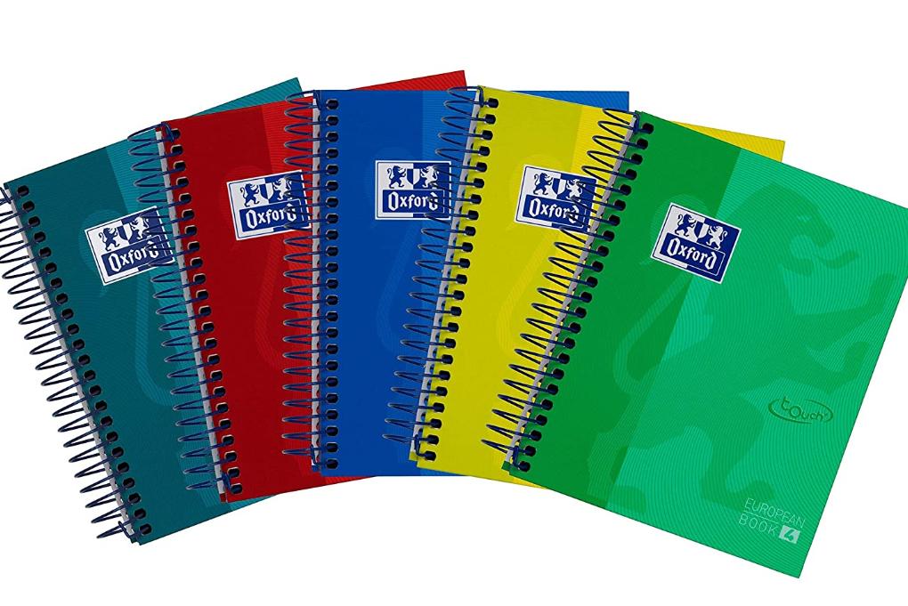 Pack 5 cuadernos espiral con tapa extradura Oxford