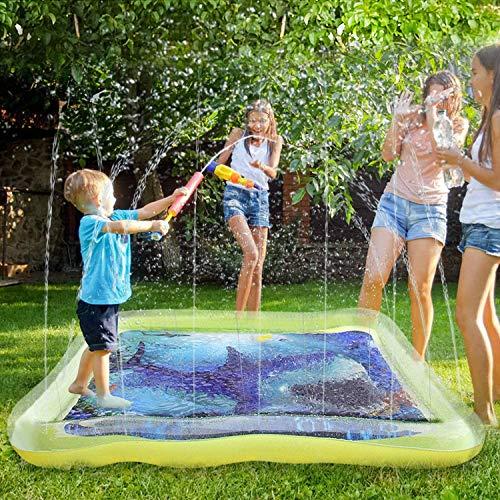 Juegos de Agua para Niños,170*170cm Square Splash Pad Water Sprinkle.