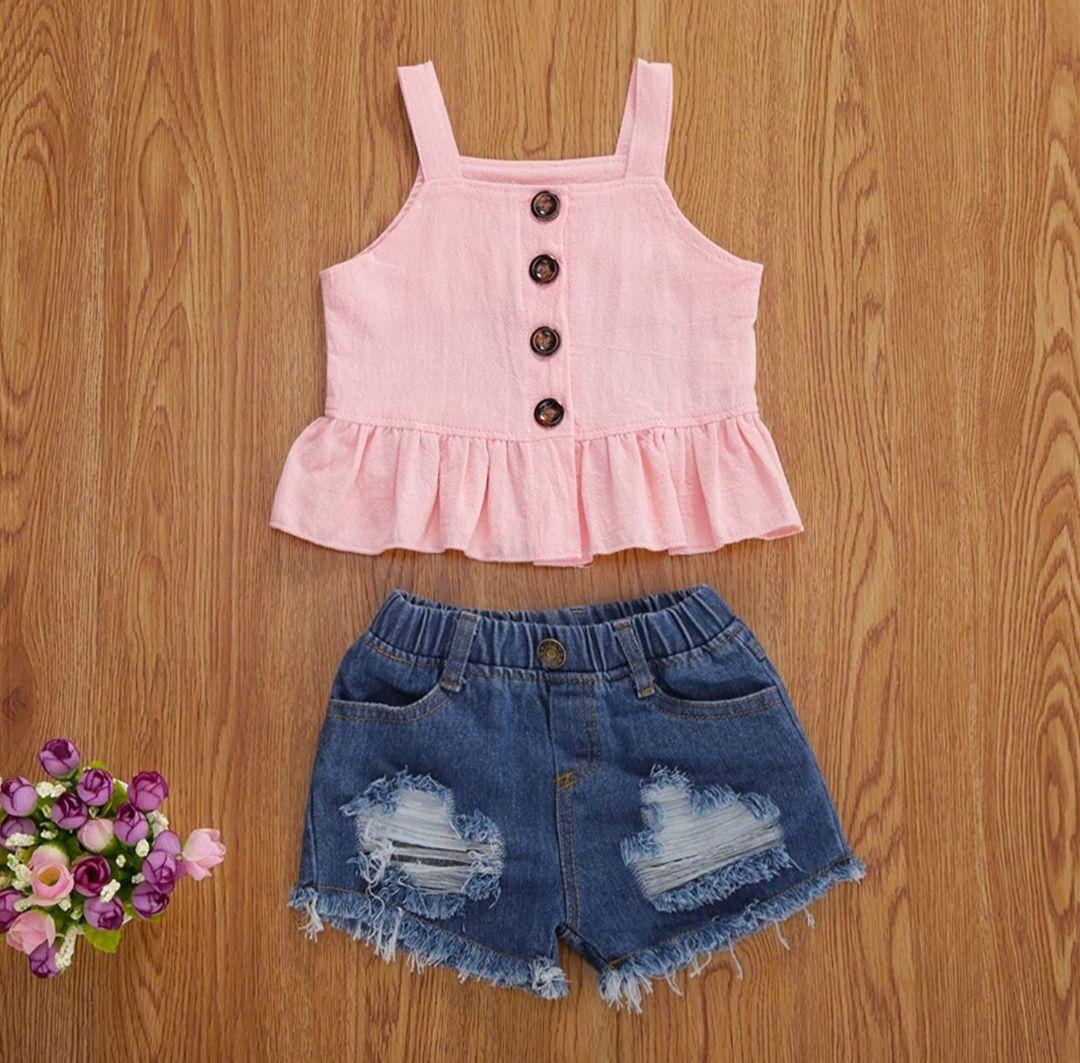 Conjunto para niña de 2 años. Pantalón corto + camiseta de tirantes