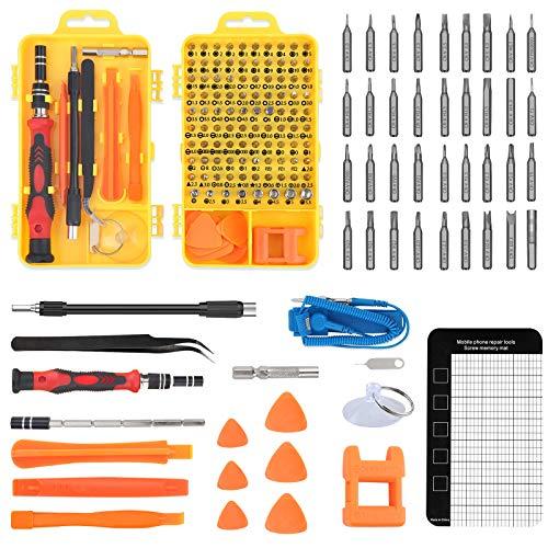 Kit de Herramientas de Reparación 117 en 1, Juego de destornilladores de precisión + Pulsera antiestatica + Alfombrilla magnética