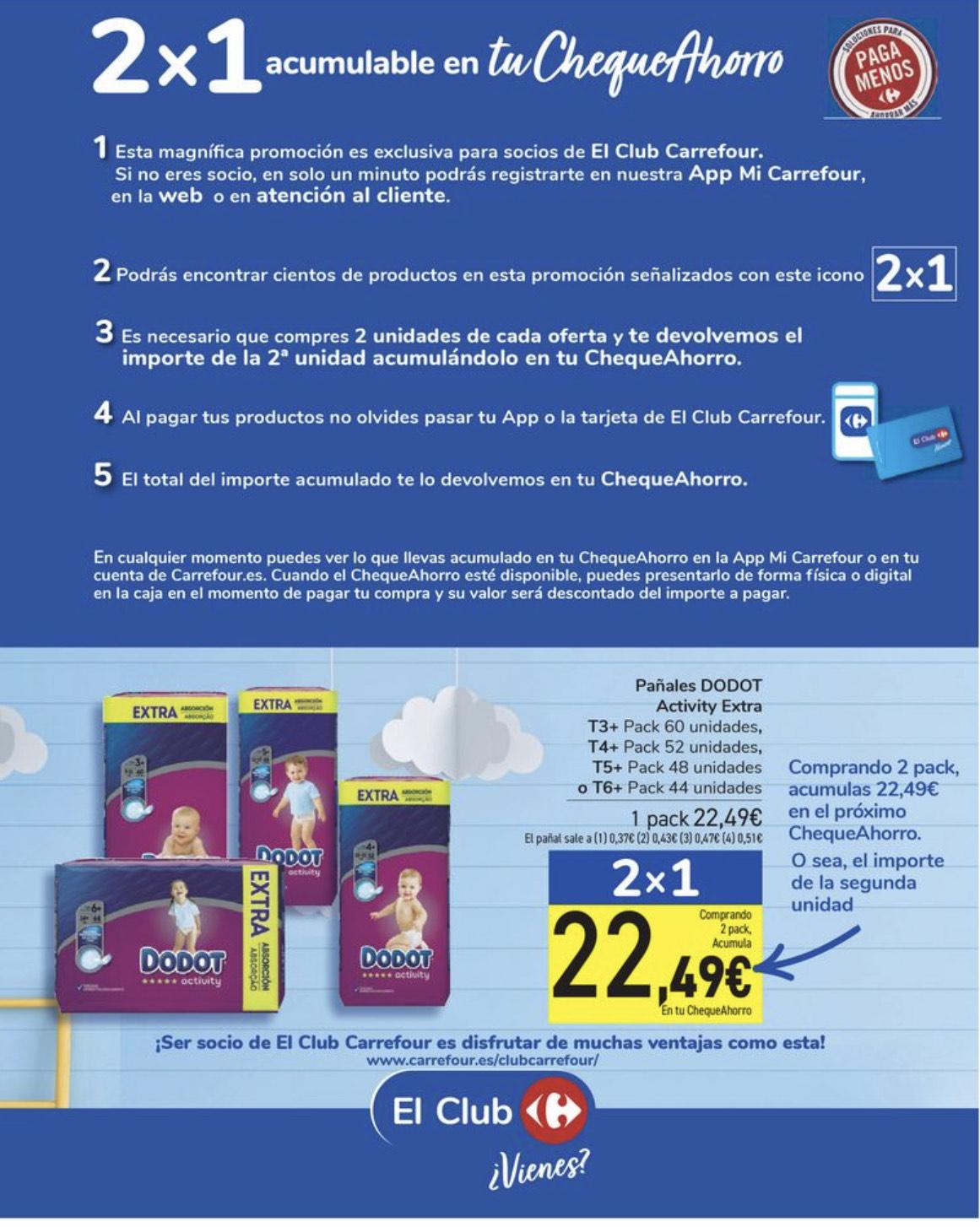 Oferta en Carrefour pañales Dodot talla + cheque 22'49