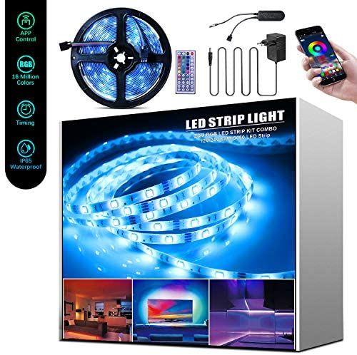 5M Tira LED RGB, Beedove Sync con Música, con Control Remoto y Bluetooth App