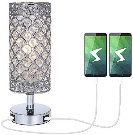 Lámpara de Mesa de Cristal, Doble salida USB