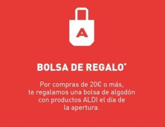 Bolsa de algodón de regalo con productos el día de la inauguración (Albacete)