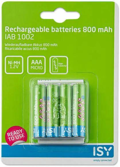Pilas recargables - Isy IAB-1002, 4 pilas AAA, 800 mAh
