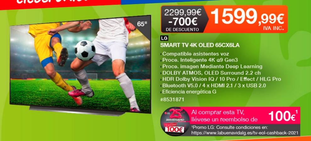 "LG OLED 65"" 4K, IA, HDR Dolby Vision IQ y Smart TV (COSTCO)"
